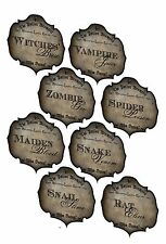 Halloween 8 apothecary labels potion brewery snake spider zombie rat  glossy