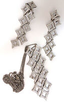 5.00ct diamonds earrings & necklace matching suite 18kt g/vs diamond shaped+