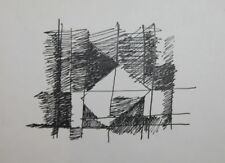 1980's AVANT GARDE ABSTRACT CUBIST INK PAINTING