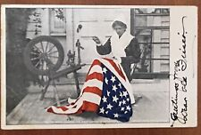 Betsy Ross Making The First US Flag Embossed Patriotic Postcard c1907