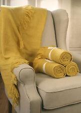 Throw Rug Soft Touch Blanket Decorative Bedding Blanket 127x150cms - MUSTARD