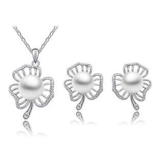 Xmas Christmas Pearl Silver Leaf  Earrings Necklace Jewellery Ladies Gift Set