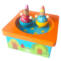 Multicolored Wooden Clockwork Clown Music Box Home Decor Clockwork Toy Gift