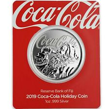2019 1oz .999 Plata Coca-Cola ® Holiday acuñación de moneda Limitada Coleccionable #A465