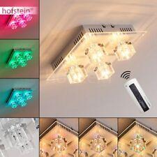 Plafonnier LED Changeur de couleur Lustre Lampe à suspension Transparente Verre