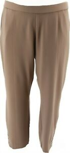 Dennis Basso Luxe Crepe Pull-On Ankle Pants Button Mushroom M # A381852