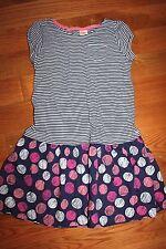 NWT Gymboree Hop & Roll Size 7 Knit Striped Dot Blue Dress