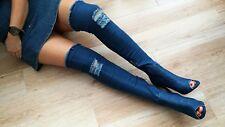 BEBO Dark Denim Thigh High Heel Boots Women's Rhiannon Ripped UK Size 3