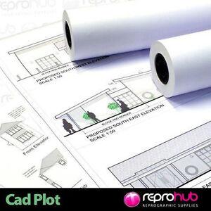 Inkjet Plotter Paper 90gsm Rolls for wide format inkjet printers x 4 rolls