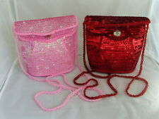 2 Ladies Clutch/Hand/Shoulder Bags-PINK & BURGUNDY with SEQUINS>P&P2UK>1st Class