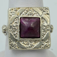 Handmade Vintage 925 Carved Sterling Silver Ring Size 7.25 & Genuine Indian Ruby