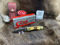 Case 1991 Stag 5159LS SP Lockback Knife With Leather Sheath Mint In Box CA00148