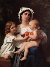 Huge Oil painting Young mother with her daughter and baby with oranges canvas