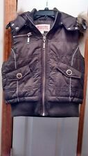 Mossimo Women Puffer VestSz Large Insulated Faux Fur Hooded Brown Very Warm!!