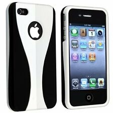 Rubberized Hard Snap-on Cup Shape Case for iPhone 4 / 4S - White/Black