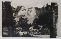 Mt Rushmore National Monument from Below, Nice Old Car in Photo RPPC Postcard C8