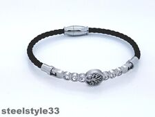 WOMEN'S WOVEN LEATHER BRACELET STAINLESS STEEL TREE OF LIFE BLACK