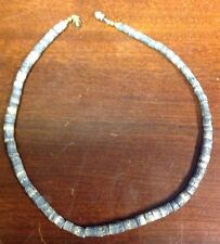 """15"""" Shell Necklace With Barrel Clasp Blueish Grey Beads JewelsGemShop.com"""