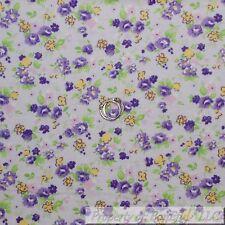 BonEful Fabric FQ Cotton Flannel VTG Purple Green Leaf White Yellow Flower Small