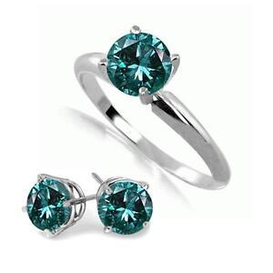 14k White Gold Blue Diamond Ring and Stud Earrings Set
