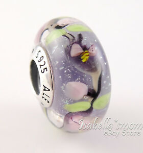 ENCHANTED GARDEN Authentic PANDORA Spring Purple MURANO GLASS Charm 797014 NEW!