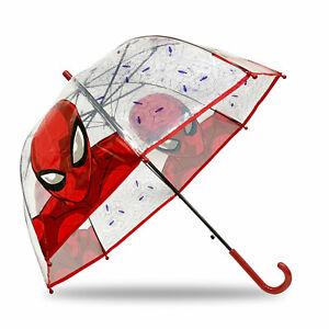 Ombrello Marvel Spiderman trasparente automatico bambini manico ufficiale 4576