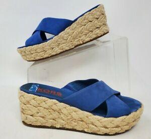 Michael Kors Womens Leather Espadrille Wedge Sandal Blue Sz 6 M