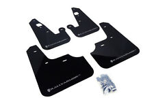 RallyArmor Black Mud Flaps (Silver Logo) for 07-17 Mitsubishi Lancer