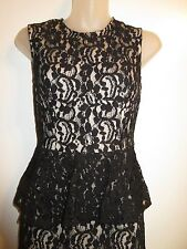 bebe XS Dress Peplum Allover Black Lace Nude Lining Pencil Wiggle Cocktail Party