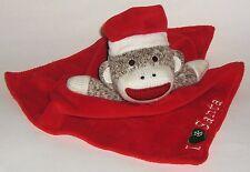"""Sock Monkey Security Blanket = """"I Love Santa""""  soft red velour & silky satin"""