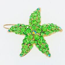 Starfish Hair Clip use Swarovski Crystal Hairpin Seastar Mermaid Gold Green