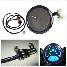 Round 12V Motorcycles 12000RMP LCD Digital Speedometer Odometer Tachometer Gauge