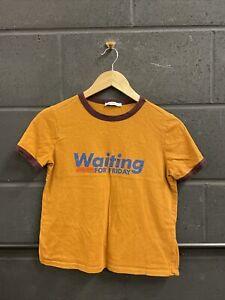 Zara Trafaluc Womens Tshirt Slogan Waiting For Friday Burnt Orange Small
