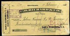 USED BANK CHECK C.B.RICHARD &CO. 1930 AUSTRIAN REVENUE STAMP