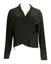 Serengeti Women's Sweater Sz L Open Front Cardigan Black