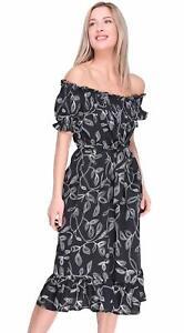 Womens Off Shoulder Dress Bardot Printed Frill Cap Sleeve Bodycon Midi Shirt Top