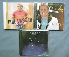 LOT 3 COUNTRY MUSIC CD'S: WILLIE NELSON, HEATH HENSLEY, PHIL VASSAR