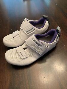 Shimano SH-TR5W Triathlon Road Cycling Shoes White Black Purple Women's Sz EU 36