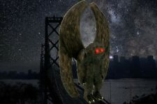 """""""MOTHMAN"""" - hand carved/painted & signed wood figure"""
