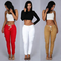 Women Ladies Leggings Pencil Pants High Waist Trousers Stretchy Skinny Jeans #@