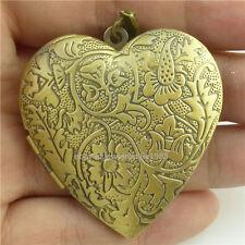Brass Flower Heart Photo Picture Locket Fragrance Essential Oil Pendant Large