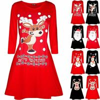 Womens Ladies Christmas Santa Costume Hat Dancing Reindeer Xmas Swing Mini Dress