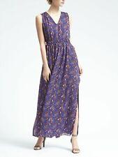 Banana Republic Blue Paisley Print Gathered Sleeveless Maxi Dress Size L V Neck