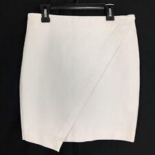 Banana Republic 2 Sm S Pencil Skirt Mini Off White Faux Wrap Asymmetric Stretch