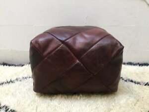 Place Brown Pouf, pouf en cuir, Pouf en cuir carré, pouf marocain