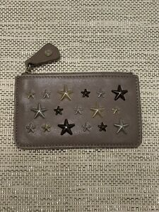 JIMMY CHOO Star Studs Key Case with Key Ring - Taupe Brown Leather