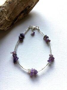 Handcrafted Amethyst Gemstone Anklet Ankle Chain Ankle Bracelet