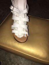Steve Madden Odetta Platform Leather  Sandal (White)