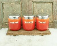 Vintage CANISTER SET Enamelware Coffee Sugar Tea Orange Flamed Dutch Enamel Jars