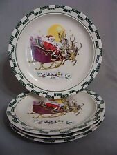 4 Stoneware Christmas Dinner Plates W/Santa Flying In Sleigh Over Village